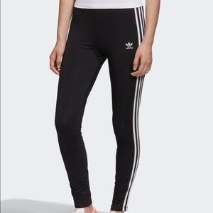 Adidas black leggings with white stripes - XS